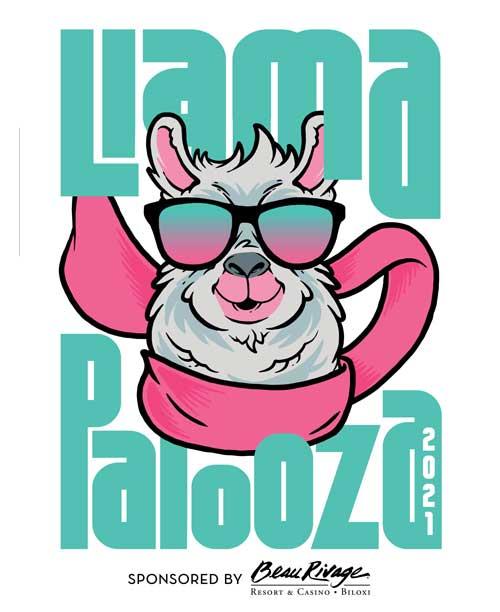 Logo Llamapalooza Fly Llama Brewing Sponsored by Beau Rivage